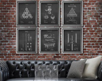 Pool Billiards Rec room decor set of 6 art prints Billiards balls Pool Table Billiard table, Billiard Cue art prints Billiards gifts for him
