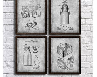 Farmhouse Decor set of 4 Art Prints Dairy Cow Milk Bottle Milk Can Milk Crate Patents - Farmhouse Kitchen Wall Decor Idea.