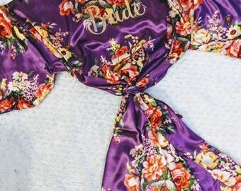bridesmaid gifts, Silk Bridesmaid Robes, Robes for Bridesmaids, Floral Bridesmaids Robes, Kimono Bridesmaids Robes,  Hen party gift, wedding