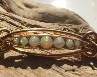 Art Nouveau 18ct Gold and Opal Brooch