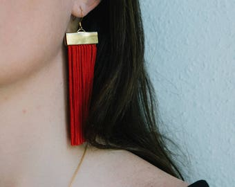 Red and Gold Rectangle Fringe Earrings -  Statement Tassel Jewelry - Gift for Her - Gifts Under 50 - Lightweight Jewelry