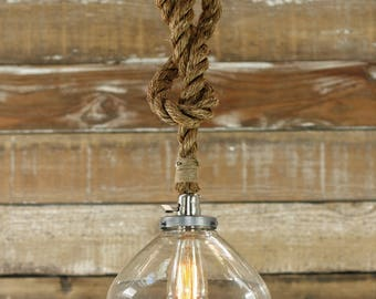The Snowfall Pendant Light - Industrial Rope Light Fixture - Modern Swag Ceiling Lamp - Glass Shade Accent Hanging Light - Rustic Lighting