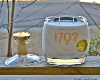 1792 Single Barrel Kentucky Straight Bourbon bottle candle made with soy wax