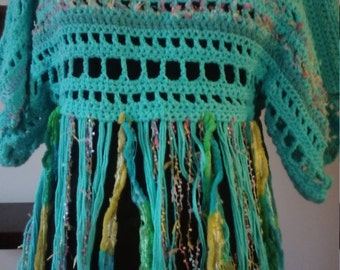 multi-fiber crocheted pullover with fringe