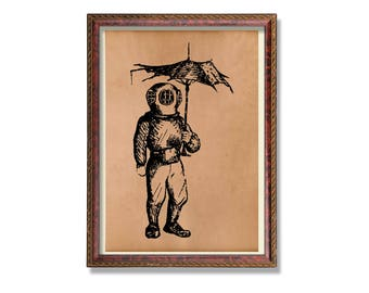 Diver print Nautical decor Sea poster