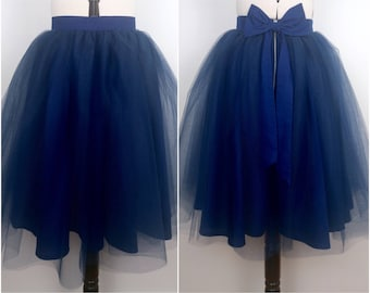 NAVY tulle knee length prom skirt, bridal, bridesmaid, christmas party, New Years, wedding