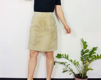 Beige suede skirt suede mini skirt suede short skirt tan leather skirt short leather skirt short suede skirt small mini skirt high waisted