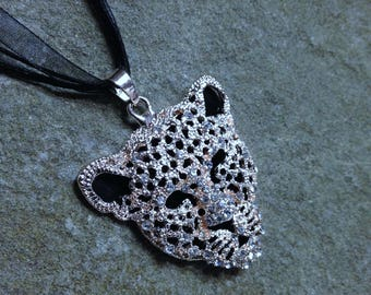 Rhinestone Leopard Jewelry, Silhouette Pendant Necklace, Sparkling Wildlife African Themed Gift, Leopard Bling Cat Lover Gift Crazy Cat Lady