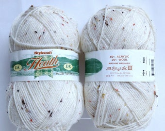 Vintage Heath Wool Yarn DK Yarn With Wool Washable Wool Blend Yarn Made in Scotland Natural Flecked Yarn