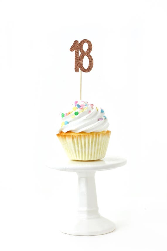 Number 18 Rose Gold Glitter Cupcake Toppers, Number 18 Toothpicks, Rose Gold Party Decor, Food Decoration, Eighteenth 18th Birthday Eighteen
