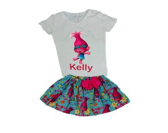 Troll  birthday outfit,  Poppy Troll  outfit,  Poppy outfit,  Poppy shirt skirt,  Troll outfit,  Disney outfit,  Girl outfit Girl dress
