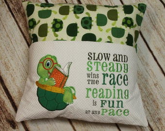 Reading Pillow, Pocket Pillow, Reading, Book Pillow, Turtle, Children, Reader, Books, Birthday Gift, Baby Gift, Embroidered, Handmade