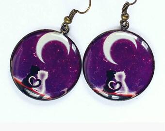 Cat lover gift-for-girl Be my Valentine Purple earrings Cat pair earrings Dangle drop earrings Fashion epoxy jewelry Black white cat print