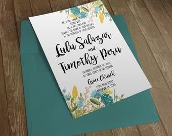 Wedding Invitation - Blue Watercolor Flowers