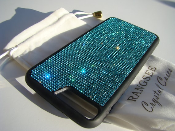 iPhone 8 Plus / iPhone 7 Plus Aquamarine Blue Rhinestone Crystal on Black Rubber Velvet/Silk Pouch Bag Included, .