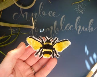 Fridge Magnet, Cross Stitch Fridge Magnet, Cross Stitch Bee, Bumblebee, Handmade fridge magnet, Home Decor