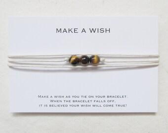 Wish bracelet, yoga bracelet, tiger eye bracelet, make a wish bracelet