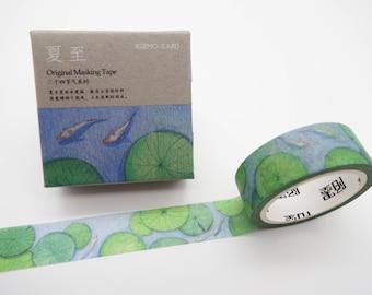 Japanese koi fish washi tape, lily pad washi, koi washi tape, koi pond, cute planner tape, koi masking tape, Japanese deco tape, water