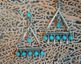Sterling silver turquoise diagonal dangle pierced earrings
