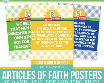 2018 LDS Primary Articles of Faith Posters - I am a child of God - Sun Theme -MB