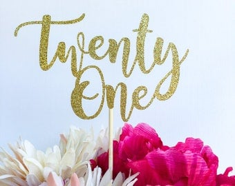 ANY number cake topper | Sweet sixteen cake topper | Script cake topper | Glitter cake topper | 21 cake topper | Twenty one topper