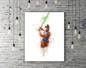 Watercolor Star Wars Luke Skywalker Art, Movie Poster Art, Starwars Print, Jedi Art, Luke Skywalker Print, Jedi Decor, Knight Wall Art