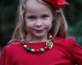 Christmas Necklace - Holiday necklace - Girls Christmas Necklace - Chunky Necklace - Red, Green and Gold - Christmas Bubblegum Necklace