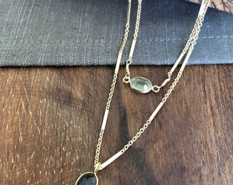Prehnite & Smoke // Prehnite and Smoky Quartz Layered Necklace in Gold