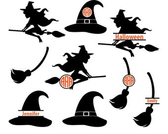 Witch SVG Files, halloween svg, witch monogram svg, witch hat svg, broom svg, halloween monogram, witch silhouette, circut, svg, dxf, eps.