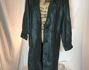 Vintage Avanti Long Leather Trench Jacket Green Soft Feel Size Petite Medium