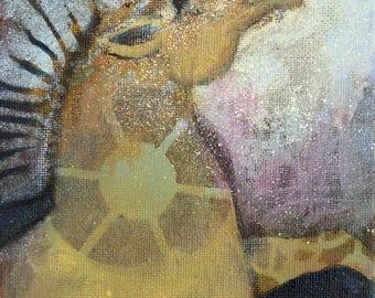 Whimsical art, original art, unicorn art, oil painting, whimsical animal art, small painting, unicorn gift, one of a kind art, unicorn decor