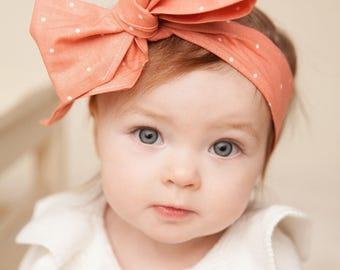 PEACH SUGAR Gorgeous Wrap- headwrap; fabric head wrap; peach head wrap; newborn headband; baby headband; toddler;  baby headwrap
