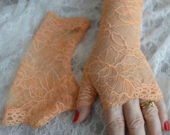 Lace Orange cuff orange fingerless wedding gloves long elegant, long lace fingerless gloves, Bridal long gloves