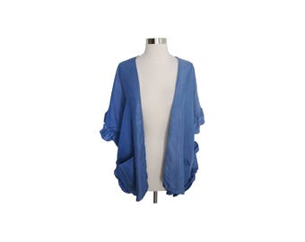Denim Ruffle Sleeve Kimono with Pockets