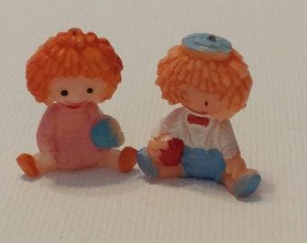 1:12 Miniature Raggedy Ann and Andy Dolls