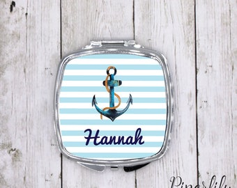 Personalized Compact Mirror Bridesmaids Gifts Birthday Gift Wedding Party Maid of Honor Gift Custom Compact Mirror Beach Nautical Anchor