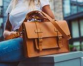 Messenger Bag Leather Messenger Briefcase Women Messenger Bag Men Work Bag Unisex Briefcase Rucksack Leather Backpack Laptop Bag