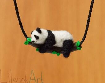Needle felted panda necklace, Panda bear gift, Panda jewelry, Cute panda pendant, Miniature needle felted panda charm, Felt jewelry, MTO