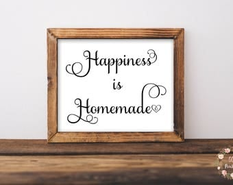 Happiness Is Homemade, Happiness Wall Art, Happiness Printable, Living Room Wall Art, Kitchen Wall Art, Bedroom Wall Art,Happiness Printable