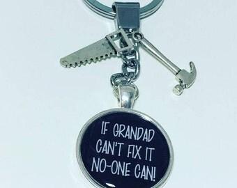 Grandad keyring, Grandad gift, If Grandad can't fix it no-one can, tools keyring