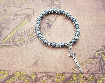 Sword Bracelet, Medieval Bracelet, Fantasy Gift, Weapon Jewellery, Gift For Her, RPG Fan, Gamer Gift, Fantasy Book Lover, Sword Jewellery