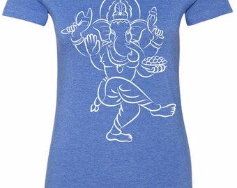 Yoga Clothing For You Sketch Ganesha White Print Womens Longer Length Tee T-Shirt = 6004-WSKETCHGANESH