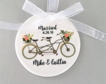 Wedding Ornament, Wedding Ornaments, Bicycle Ornament, Newlywed Gift, Wedding Gift, Couple's Gift, Customized Ornament, Newlywed Gift, Bride