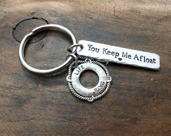You Keep Me Afloat, Life Ring Keychain, Refuse to Sink, Nautical Gift, Nautical Gift, Thank You Gift, Life Preserver, Lifeguard Gift