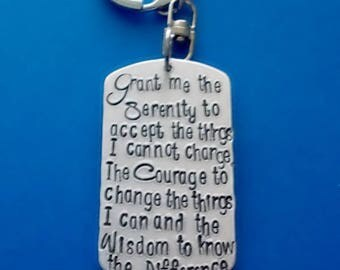 Serenity Prayer Keychain, Recovery Key Chain, Hand Stamped Sobriety Gift Key Chain, Addiction Recovery Gift, Sponsor Gift, Handstamped