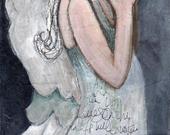 Guardian Angel - White Angel - Giclee Print - Mixed Media Art - Inspirational Art - Michelle O'Connor Art