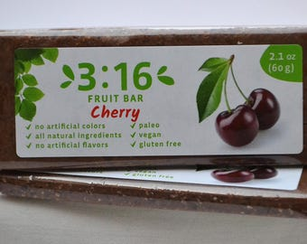 3:16 Cherry Energy Bar for paleo, gluten free, and vegan diet. Made from real fruits and nuts. Nothing else.