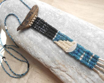 Tapestry Necklace 'Night Sail' - Driftwood Linen Wool Silk Lurex & Sterling Silver - mini weaving - textile jewelry - fiber art necklace***