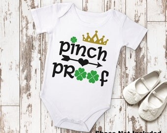 Pinch Proof Irish St. Patricks Day Baby Shower Birthday Gift Idea Boy Toddler Clothing Romper Shirt Tee Coming Home Clover Funny Lad Laddy