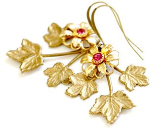 Gold Leaf & Flower Bridal Earrings   Vintage Style Gold Leaf Earrings   Woodland Gold Leaf Earrings   Gold Botanical Bridal Jewelry